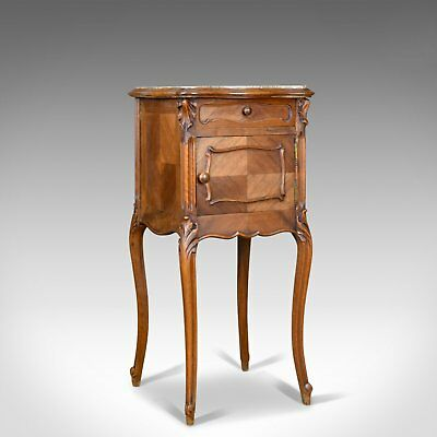 Antique Bedside Cabinet, French Walnut Marble Top Pot Cupboard Circa 1890