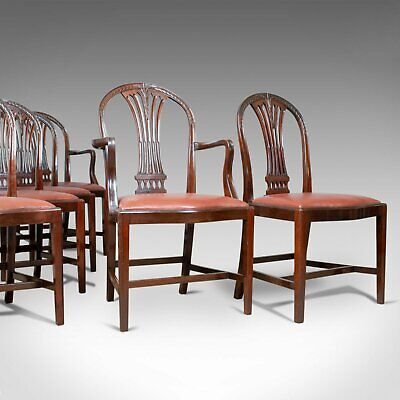 Antique Set of Six Dining Chairs, Hoop Back, Manner of Hepplewhite, Circa 1930