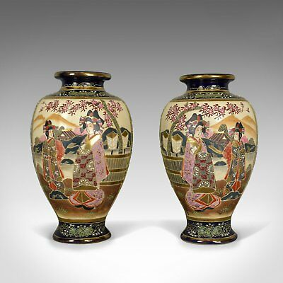Pair of Japanese Baluster Vases, Ceramic Urns, Late 20th Century