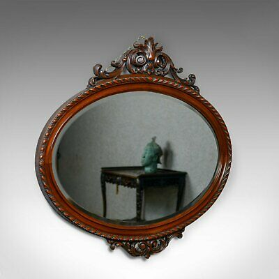 Antique Wall Mirror, Edwardian, Ovular, Carved Walnut, C20th, Circa 1910