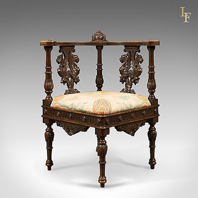Antique Corner Armchair, Carved Victorian Arm Chair, English Walnut c.1870