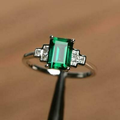 3.50 Ct Brilliant Cut Green Emerald Engagement Ring Solid 14K White Gold Over