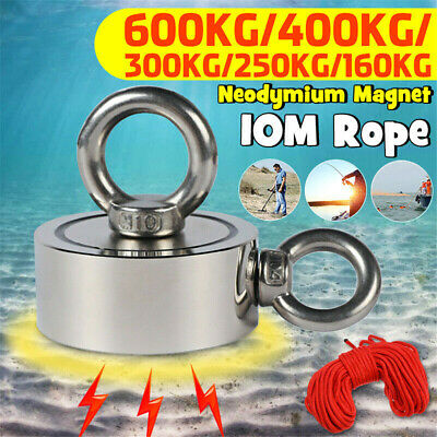 300/400/600KG Recovery Magnet Very Strong Sea Fishing Diving Treasure Hunting