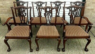 Set Of 8 X Antique Chippendale Carved Mahogany Dining Chairs For A Nurses Fund