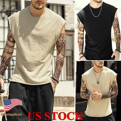 Mens Sleeveless T Shirt Muscle Tee Hippie Shirts Casual Yoga Plain Tank Tops Gym