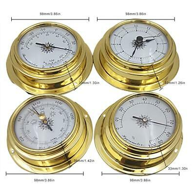 Weather Station 4 pcs/set 98mm Brass Barometer /Thermometer/ Hygrometer /Clock