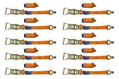 SET of 10 RATCHET TIE DOWN STRAPS - 3M / 25 mm / 1T 1000 KG HEAVY CARGO TRUCK