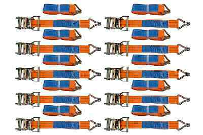 SET of 10 RATCHET TIE DOWN STRAPS - 6M / 35 mm / 2T 2000 KG HEAVY CARGO TRUCK