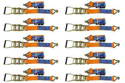 SET of 10 RATCHET TIE DOWN STRAPS - 3M / 50 mm / 4T 4000 KG HEAVY CARGO TRUCK