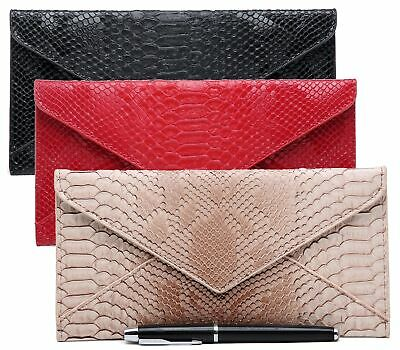 Ladies Faux Leather Flat Snakeskin Envelope Party Evening Bridal Clutch Bags