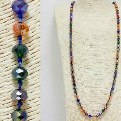 """60"""" Long Dark Multi Color Facet Crystal 8mm Beaded Knotted Wrap Around Necklace"""