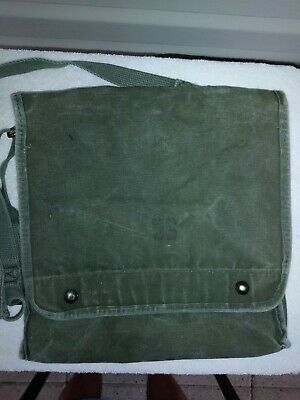 U.S. Military Stone Washed Canvas Messenger Bag With Adjustable Straps