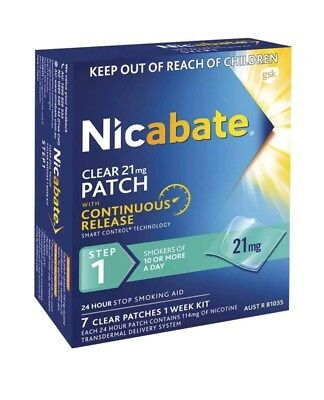 3 Boxes Of Nicabate Step 1 21mg Nicotine Quit Smoking Clear Patches