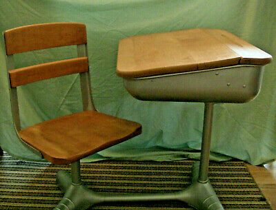 Vintage Student School Desk & Chair | Wood And Metal | Back to School | Teacher