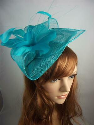 Turquoise Blue Leaf Sinamay Fascinator with Feather Flower - Hat Wedding Races