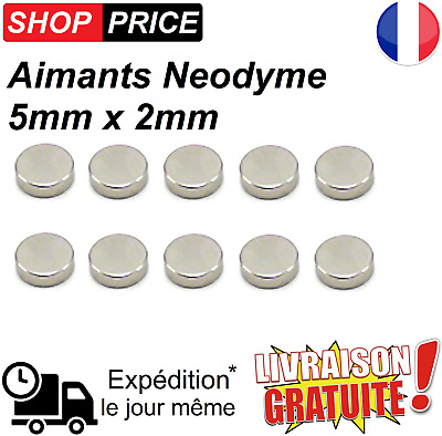 Lot 10 Aimants Frigo Neodyme Neodium Rond Fort Strong Magnet 5 mm x 2 mm (NEUF)