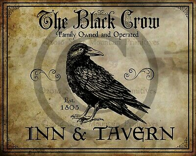 Primitive Colonial The Black Crow Inn Tavern Sign Laser Print 8x10