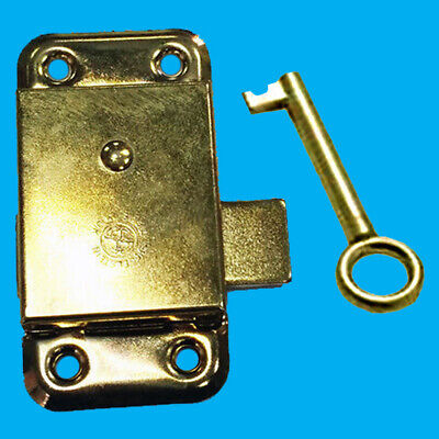 "12x 3"" Inch Brass Door Lock & Key For Wardrobe Cupboard Cabinet Desk Drawer"