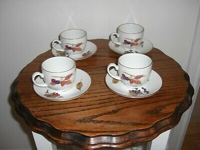 4 X  Royal Worcester Evesham Gold  Coffee Cups And Saucers
