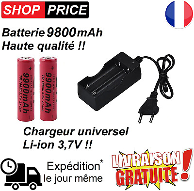 Batterie 18650 / Chargeur double accu Li-ion 3.7v led cigarette mod torche led