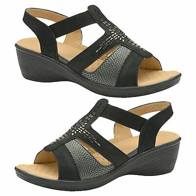 Dunlop Womens Slingback Low Wedge Comfort Ladies Cushioned Open Toe Sandals