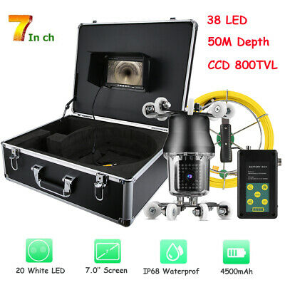"7""LCD 50M Pipe Inspection 1000 TVL Video Camera LED Waterproof Drain Pipe Sewer"