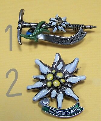 CHOICE 60 70s Oberstdorf Alpine Edelweiss Flower Hike German Oktoberfest Hat Pin