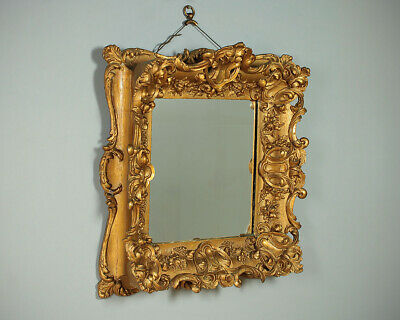 Antique 19th.c. Rococo Style Gilt Frame Wall Mirror c.1880.