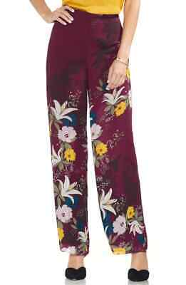 New $180 Vince Camuto Womens Red Floral High-Rise Wide-Leg Pull-On Pants Size 10