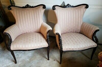Pair of Antique Flat Wingback Chairs