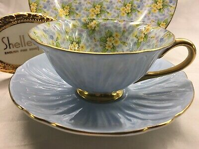"Shelley  Oleander  Shape  Primrose Cup, Saucer &  Plate 13588 "" Trio "" Gold Trim"