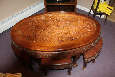 """Chinese/Oriental 50"""" Oval Glass Top Side Table Coffee Table With 6 Stools"""