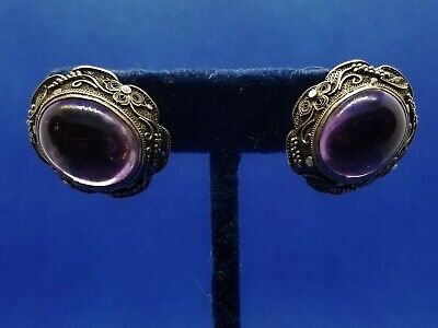 Antique Chinese Export Silver Filigree Amethyst Cabochon clip earrings