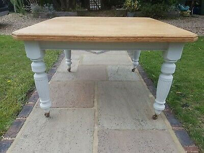 Large oak Victorian dining table, wooden dining table, oak dining table