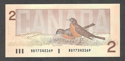 "1986 $2.00 BC-55b AU-UNC EPQ Bank of Canada QEII ""Bird"" Series ROBIN Two Dollars"