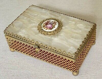 Antique Victorian Dresser Vanity Jewelry Box Celluloid Lid Mirror Painted Plaque