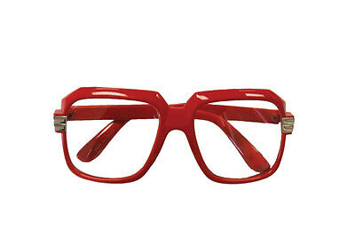Vintage Red Oversized Clear Lens Glasses Sunglasses Hipster w/ Metal Accents