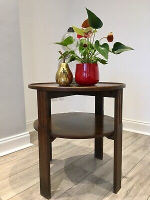 Art Deco Oak octagonal 2 tier side table Occasional Table