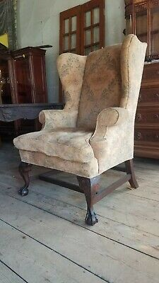 Large Mahogany Chippendale Wing Chair W Eagles