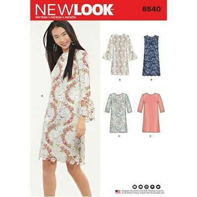 New Look sewing Pattern 6540 Misses Sz 8-20 Shift Dresses Overlay & Sleeve Vari