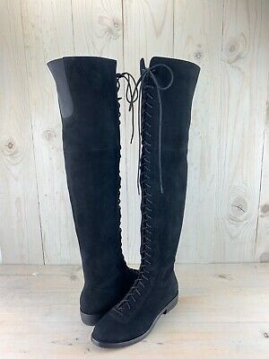 37500bd1afe UGG BLACK OVER The Knee Twisted Cable Knit/ Sheepskin Boots ...