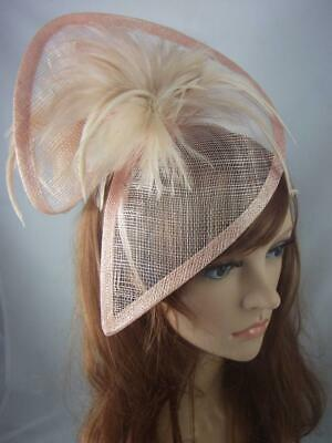 Nude Pink Sinamay & Feathers Twist Fascinator - Occasion Wedding Races
