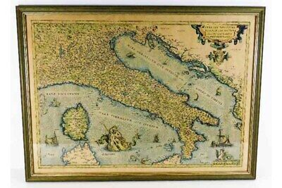ANTIQUE FRAMED MAP OF ITALY 22.5in x 16.5in