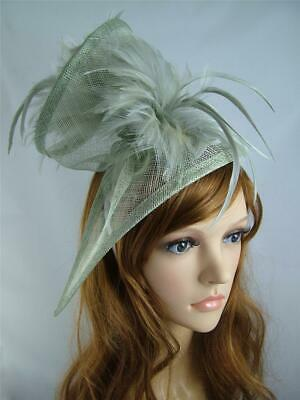 Silver Grey Sinamay & Feathers Twist Fascinator - Occasion Wedding Races