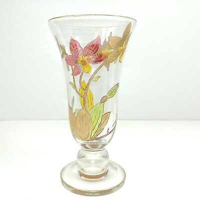 Handmade Art Glass Vase Etched and Exterior Painted Vintage
