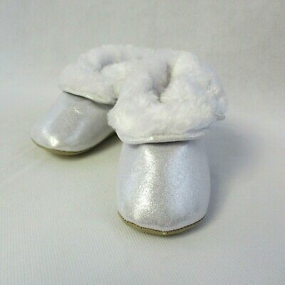 Stride Rite Infant Girls Booties 12-18 mo Soft Sole Faux Fur Silver Holiday New