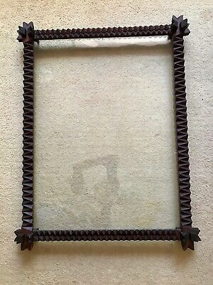 Large Antique Australian Tramp Art Frame Original Old Glass