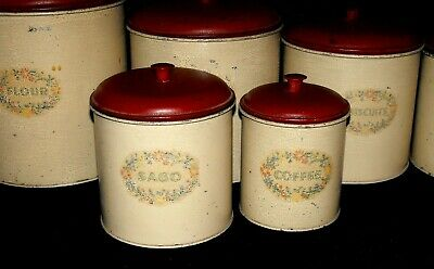 Set 6 Vintage Kitchen Storage Tin Metal Canisters w. Lids 1940/50's Cream Red