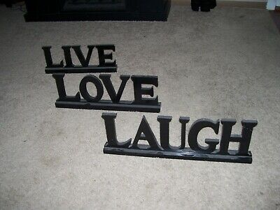 LIVE LOVE LAUGH Word Sign Wooden 3 pcs. LARGE MANTLE STANDING WESTERN DECOR NICE