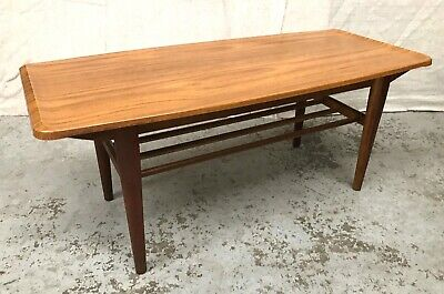 VINTAGE LAMINATE & TIMBER COFFEE TABLE w Magazine Rack Mid Century Retro